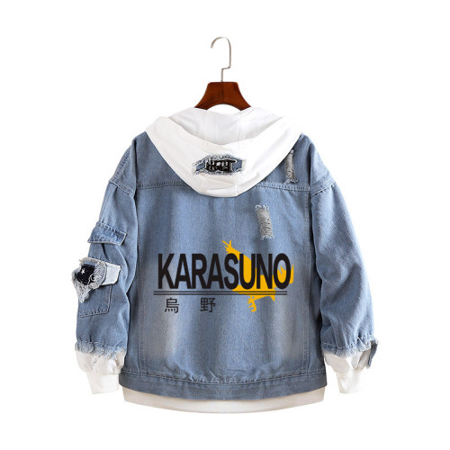 Anime Haikyuu!! Karasuno Fake Two Piece Jean Jacket Blue Denim Hooded Jacket Coat Youth Adults Fall Winter Streetwear