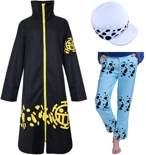 Anime One Piece Trafalgar Law 2nd Cosplay Costume Cloak Whole Set With Hat and Pants