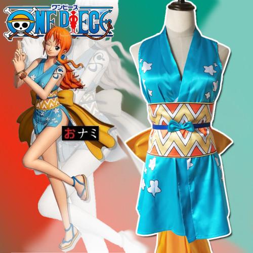 Anime One Piece Wano Country Nami Cosplay Costume Komono Dress With Bow Halloween Costume