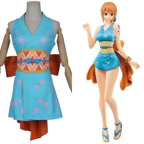 Anime One Piece Cosplay Costume Wano Country Nami Costume Full Set Kimono Costume