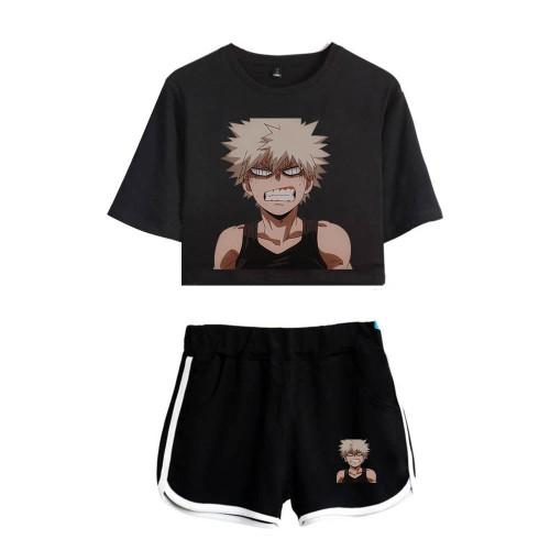 My Hero Academia Girls Short Suits 2PCS Set Crop Top Short Sleeve Tee and Shorts Set