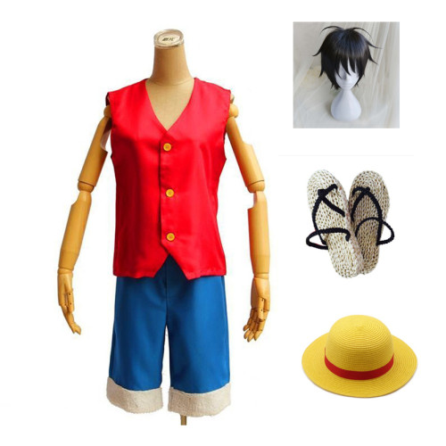 Anime One Piece Cosplay Costume Two Years Ago Luffy Generation 1 Costume Full Set Costume Hat Wigs Shoes