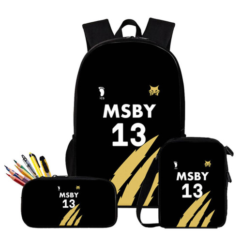 Anime Haikyuu!! MSBY Backpack Set Unisex Backpack and Lunch BOX Bag and Pencil Bag Set