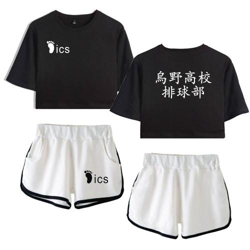 Anime Haikyuu!! Karasuno Girls Trendy Crop Tops and Shorts Set Short Sweatsuit