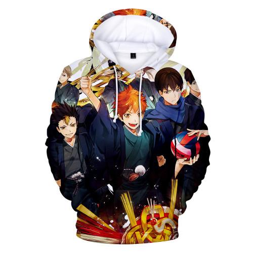 Anime Haikyuu!! Karasuno 3-D Hoodies Youth Unisex Long Sleeve Hooded Pullover Sweatshirt