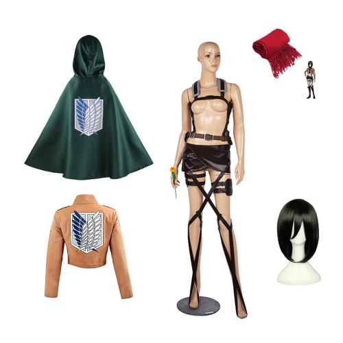 Attack on Titan Mikasa Ackerman Cosplay Costume Full Set With Wigs 6pcs Set