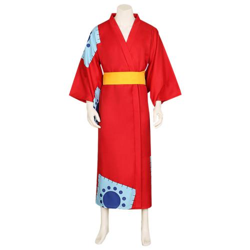 Anime One Piece Wano Country Luffy Red Kimono Costume Halloween Cosplay Costume