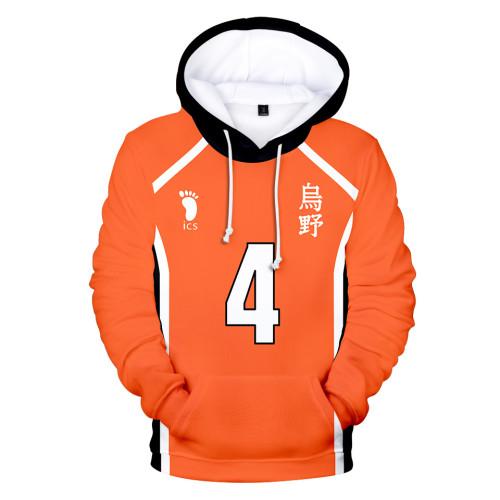 Anime Haikyuu!! Karasuno High Volleyball Team Hoodie Long Sleeve Casuall Pullover Sweatshirt