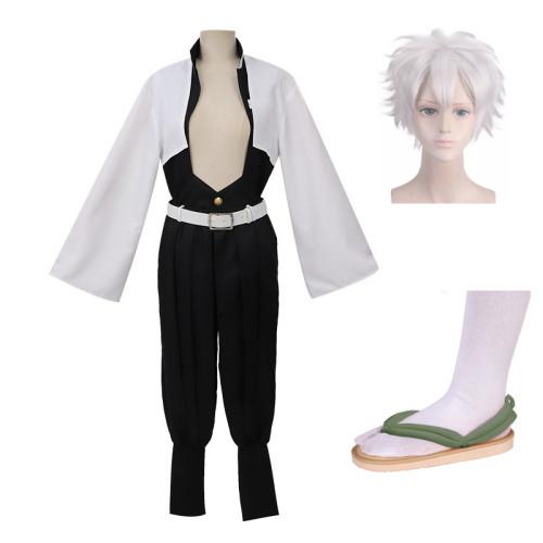 Anime Demon Slayer Kimetsu no Yaiba Shinazugawa Genya Cosplay Whole Set Costume With Clogs and Wigs