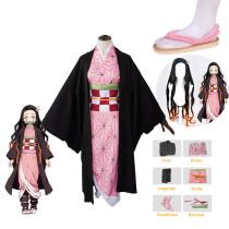 [Kids/ Adults] Anime Demon Slayer Nezuko Kamado Cosplay Costume Whole Set With Wigs and Shoes Halloween Costume