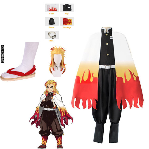 [Kids/ Adults] Anime Demon Slayer Cosplay Costume Kyojuro Rengoku Cospaly Costume Whole Set Costum With Shoes and Wigs
