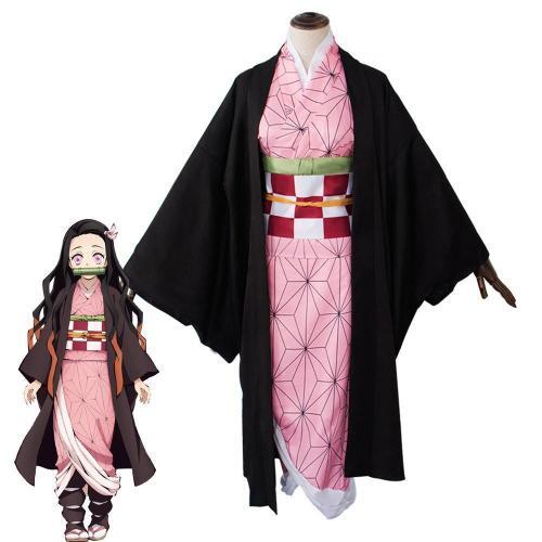 Anime Demon Slayer Kimetsu no Yaiba Cosplay Costume Nezuko Kamado Cosplay Uniform Set Halloween Costume