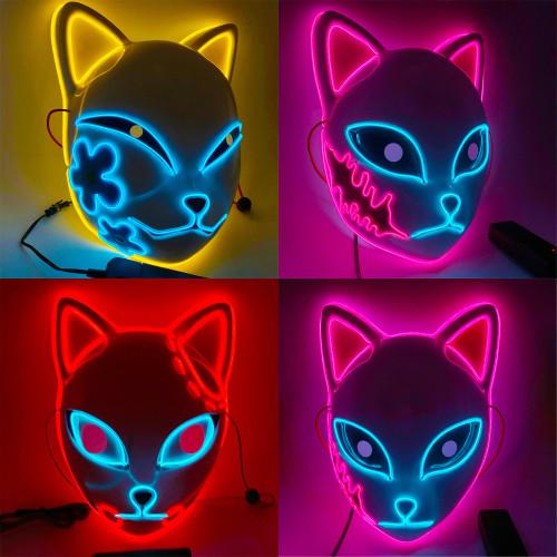 Anime Demon Slayer Kimetsu no Yaiba Makomo Sabito Tanjiro Cosplay Props Mask Halloween LED lighting Mask