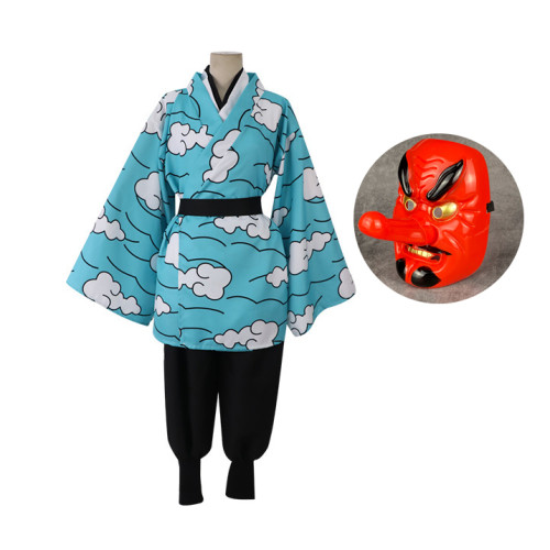 [Kids/ Adults] Anime Demon Slayer Cosplay Costume Urokodaki Sakonji Costume Whole Set With Mask Halloween Cosplay Costume