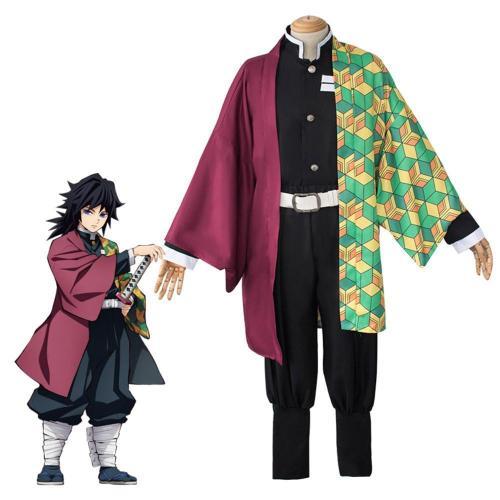 Anime Demon Slayer Kimetsu no Yaiba Giyu Tomioka Costume Halloween Cosplay Costume Full Set