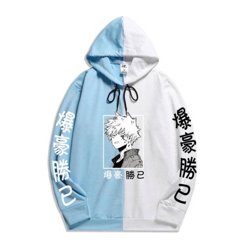 My Hero Academia Bakugou Katsuki Hoodie Contrast Color Black and White Hooded Sweatshirt