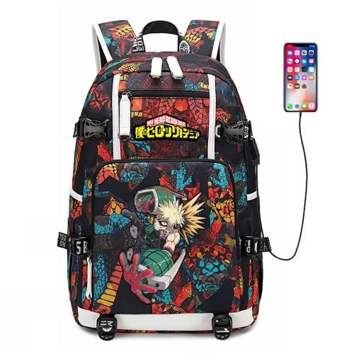 My Hero Academia Big Capacity Rucksack Students Bookbag Travel Backpack Computer Backpack With USB Charging Port