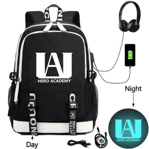 My Hero Academia Backpack With USB Interface School Students Backpack Bookbag Computer Backpack
