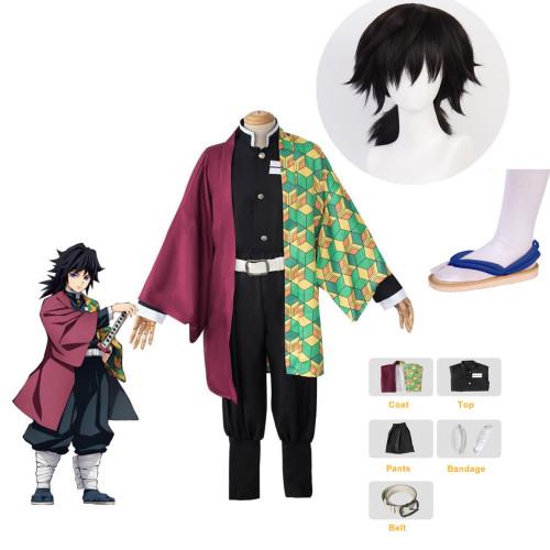 [Kids/ Adults] Anime Demon Slayer Giyu Tomioka Cosplay Costume Whole Set With Wigs and Shoes Halloween Costume