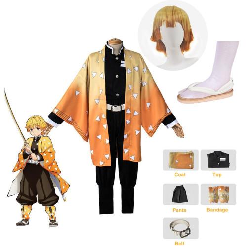 [Kids/ Adults] Anime Demon Slayer Zenitsu Agatsuma Cosplay Costume Whole Set Costume With Wigs and Clogs