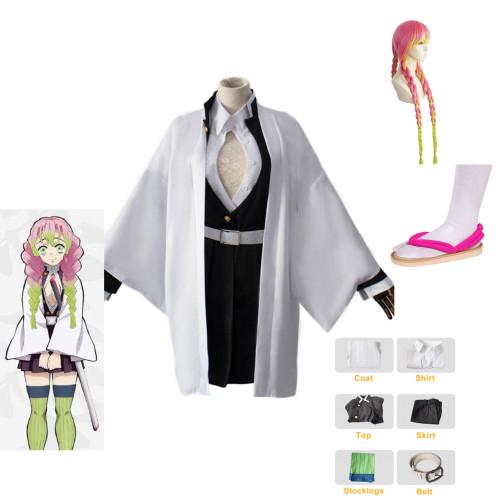 Anime Demon Slayer Cosplay Costume Kanroji Mitsuri Cosplay Costume Whole Set Costum With Shoes and Wigs