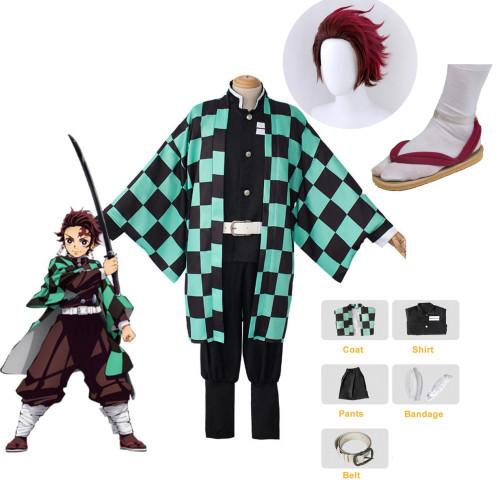 [Kids/ Adults] Anime Demon Slayer Tanjiro Kamado Cosplay Costume Whole Set Costume With Wigs and Clogs