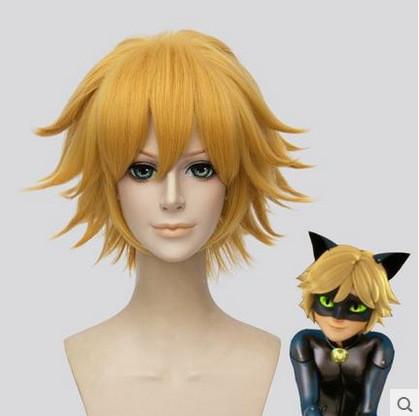 [Kids/Adults]Miraculous Black Cat Noir Cosplay Wigs Golden Wigs