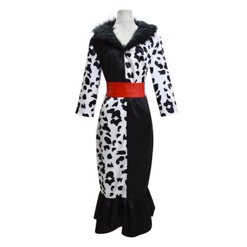 Cruella de Vil Costume Bodycon Dress Black and White Halloween Cosplay Costume
