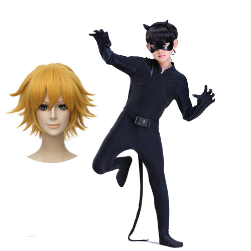 [Kids/Adults]Miraculous Black Cat Noir Cosplay Costume Whole Set With Eye Mask and Wigs
