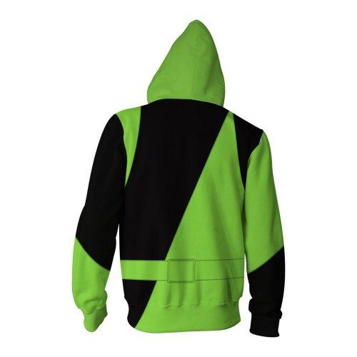 Kim Possible Shego Cosplay Jacket Green Hooded Zip Up Jacket
