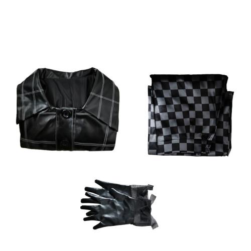 Cruella de Vil Black PU Leather Dress Set Cosplay Costume Halloween Party Costume  With Gloves