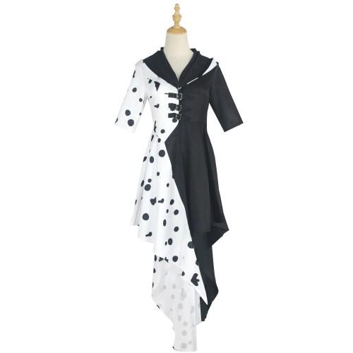 Cruella de Vil Cosplay Costume Halloween Costume Dress Black and White Costume With Gloves