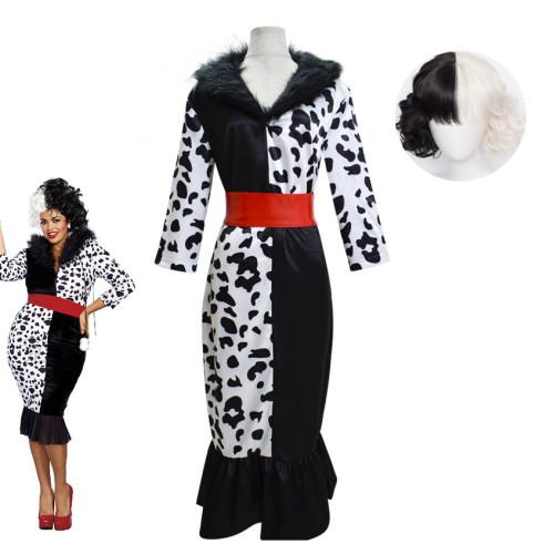 Cruella de Vil Costume Bodycon Dress Black and White Halloween Cosplay Costume Whole Set Wth Wigs