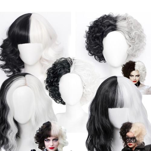 Cruella de Vil Halloween Cosplay Wigs Black and White Cosplay Wigs
