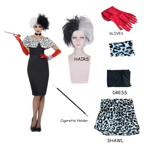 Cruella de Vil Cosplay Bodycon Dress Costume Whole Set With Props and Wigs Halloween Cool Costume