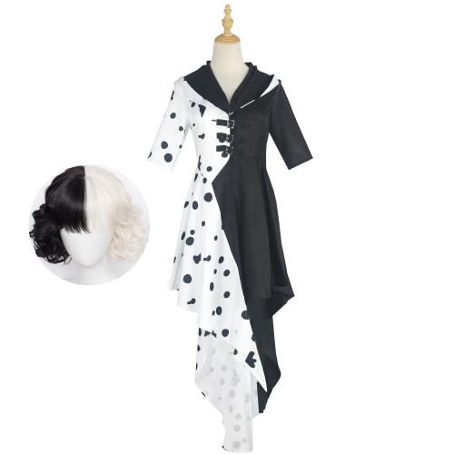Cruella de Vil Cosplay Costume Halloween Costume With Wigs Coaplay Dress Black and White Costume Whole Set