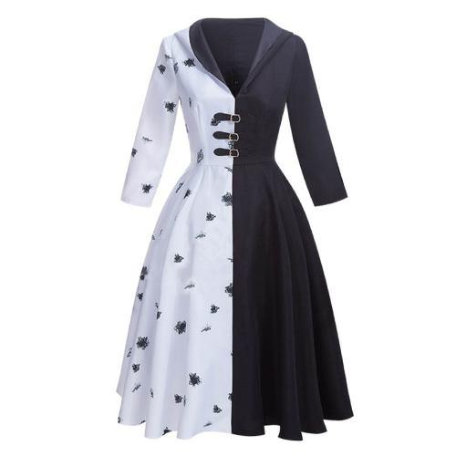 Cruella de Vil Black White Cosplay Dress Halloween Costume With Gloves Cosplay Set