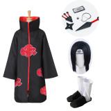 Naruto Akatsuki Itachi Uchiha 11pcs Set Cosplay Costume Whole Set With Props and Wigs and Shoes