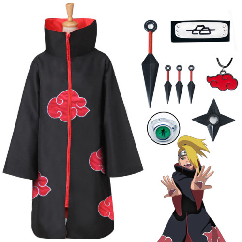 Naruto Akatsuki Deidara Cosplay Costume Cloak With Props Set Halloween Cosplay Costume