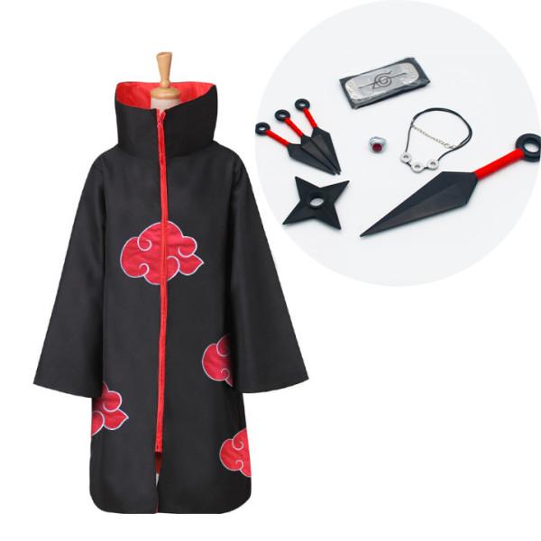 Naruto Akatsuki Itachi Uchiha Cosplay Costume 9pcs Set Cosplay Costume With Full Set Props