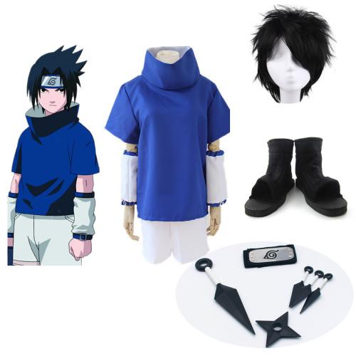 Anime Naruto Sasuke Uchiha Coaplay Costume Whole Set Halloween Costume With Wigs Shoes and Headband Kunai Props