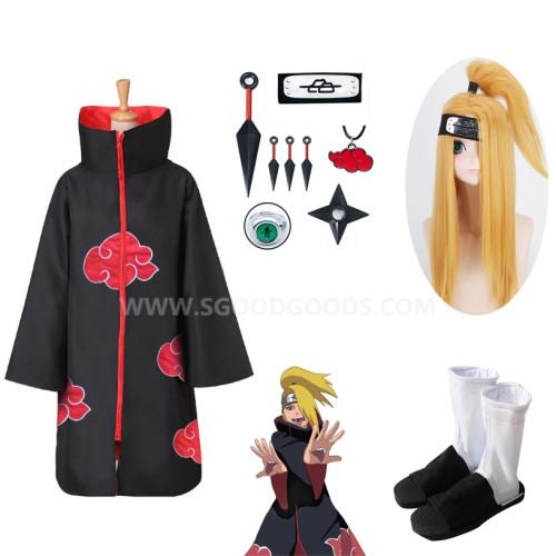 Naruto Akatsuki Deidara Cosplay Costume Whole Set With Wigs Shoes and Props Halloween Costume