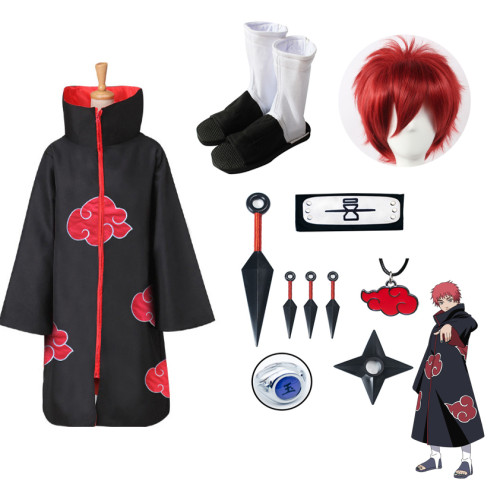 Naruto Akatsuki Sasori Costume Whole Set Cloak With Props Wigs and Shoes Halloween Party Coapaly Costume