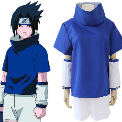 Anime Naruto Sasuke Uchiha Blue Cosplay Costume Top and Shorts Set Halloween Costume