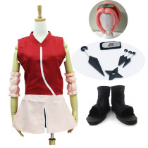 Anime Naruto Haruno Sakura Second Generation Cosplay Costume Whole Set With Wigs Shoes Props