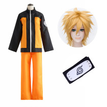 Anime Naruto Shippuden Naruto Uzumaki Cosplay Costume With Wigs and Headband Whole Set Costume
