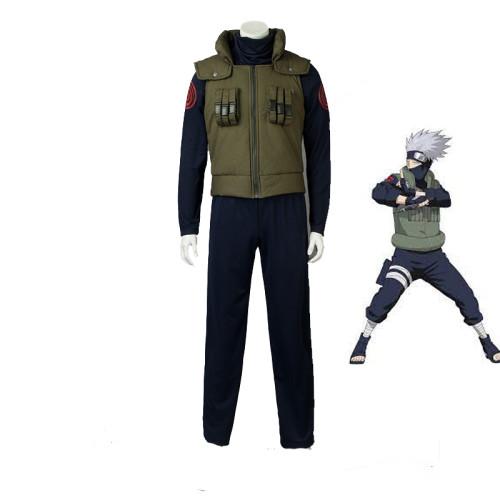 Anime Naruto Kakashi Hatake Cosplay Costume Top Pants and Vest Set Halloween Costume