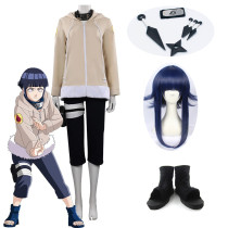 Anime Naruto Hinata Hyuga Childhood Beige Cosplay Costume Whole Set With Props Wigs and Shoes
