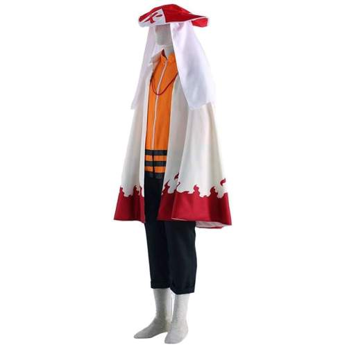Anime Naruto The Seventh Hokage Cosplay Costume Whole Set Top Pants With Cloak Hat Wigs and Shoes Halloween Costume Suit