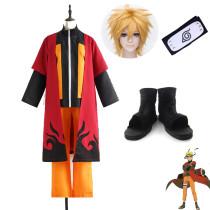 Anime Naruto Shippuden Naruto Uzumaki Cosplay Costume Whole Set Top Pants Cloak Wigs Headband Shoes